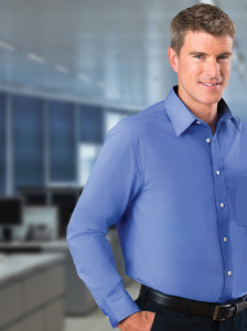 Men's Long Sleeve Solid Broadcloth Shirt - Blue