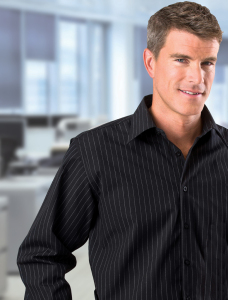 Men's Long Sleeve Striped Yarn-Dyed Shirt - Black