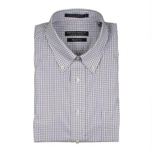 Men's Long Sleeve Button Down White/Charcoal Check - White/Charcoal Check