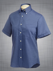 Ladies Short Sleeve Two-Pocket Classic Oxford in French Blue