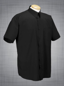 Two-Pocket Short Sleeve Dress Shirt - Black