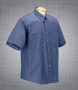 Men's Short Sleeve Two-Pocket Houndstooth Oxford - French Blue