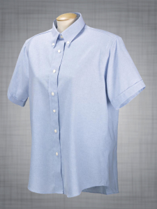 Ladies Short Sleeve Classic Oxford Dress - Blue